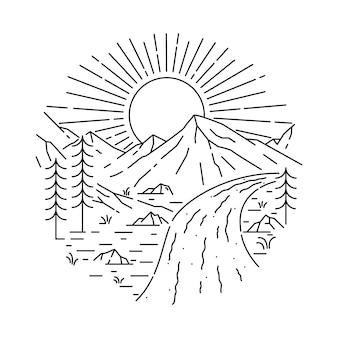 Illustrazione al tratto selvaggio della montagna della natura