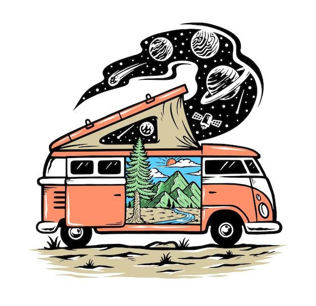 La natura nella mia illustrazione dell'auto