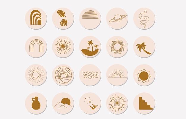 Collezione di oggetti naturali con sole, montagna, arcobaleno per social media, adesivo