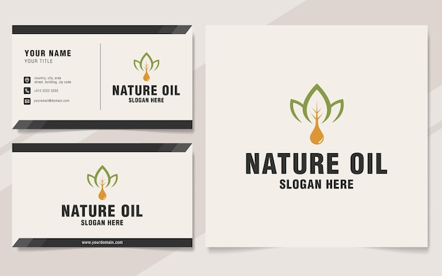 Modello di logo di olio naturale su stile monogramma