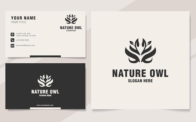 Modello di logo del gufo della natura sullo stile del monogramma