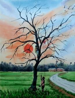 Riva del fiume della pittura della natura con l'illustrazione dell'acquerello dell'albero