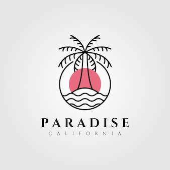 Natura palma logo cocco linea arte minimalista emblema illustrazione