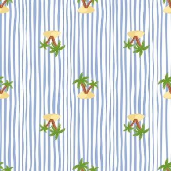 Reticolo senza giunte di paradiso della natura con palme verdi e forme dell'isola. sfondo a righe bianche e blu.