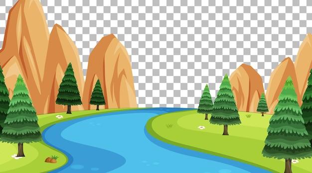 Scena del parco naturale con fiume su sfondo trasparente