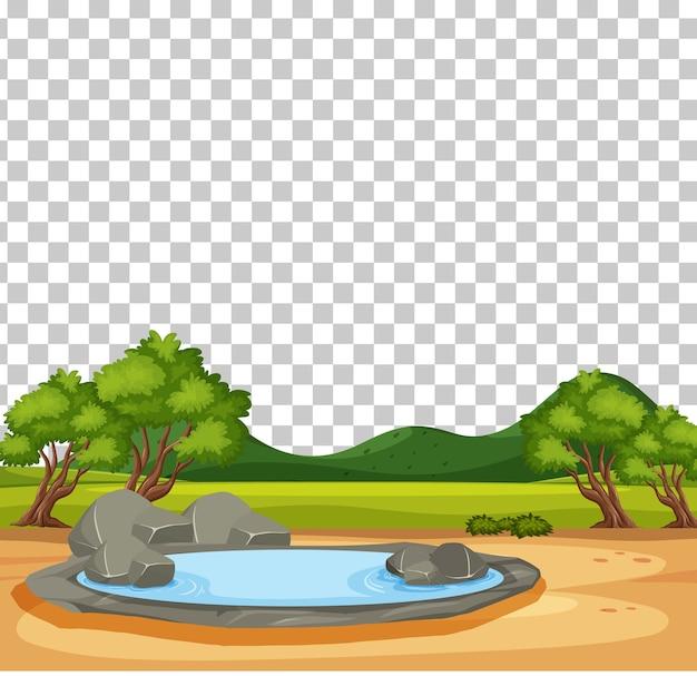 Scena del parco naturale con paesaggio palustre su sfondo trasparente