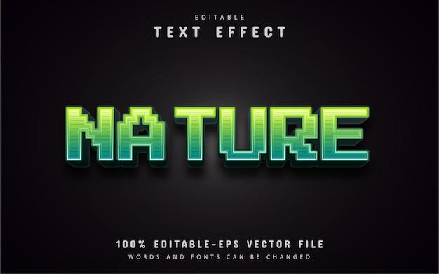 Effetto testo pixel naturale Vettore Premium
