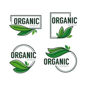 Prodotto naturale, doodle emblemi di foglie verdi organiche, adesivi, cornici e logo