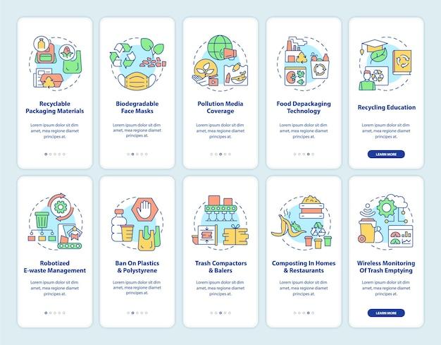 Tendenze di protezione della natura a bordo del set di schermate della pagina dell'app mobile. procedura dettagliata per la riduzione dell'inquinamento 10 passaggi istruzioni grafiche con concetti. modello vettoriale ui, ux, gui con illustrazioni a colori lineari