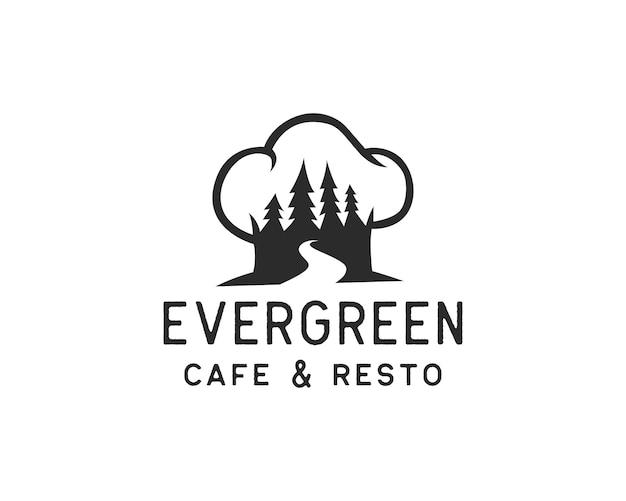Logo del ristorante della natura. pino o foresta all'interno del concetto di modello di progettazione del logo del cappello da chef