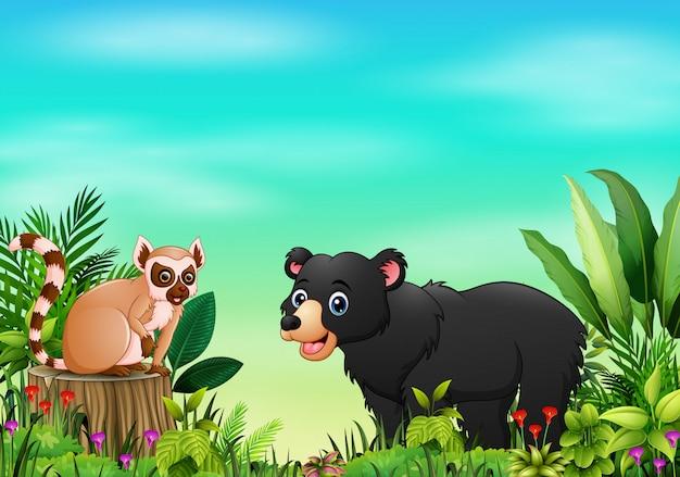 Scena della natura con un lemure che si siede sul ceppo e sull'orso di albero
