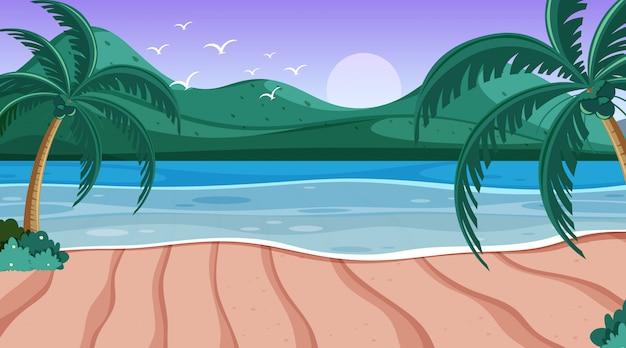 Scena della natura con oceano e piccole colline