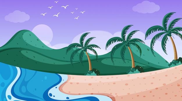 Scena della natura con oceano con alberi sulle colline