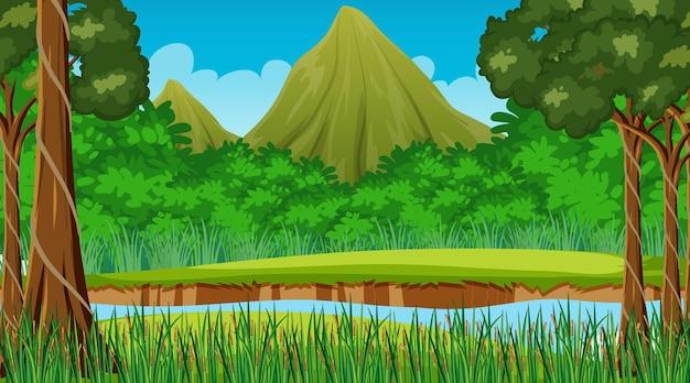 Scena della natura con ruscello che scorre attraverso la foresta e lo sfondo di montagna