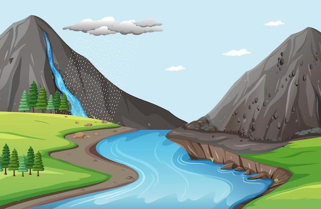 La scena della natura con l'acqua cade dalla scogliera di pietra