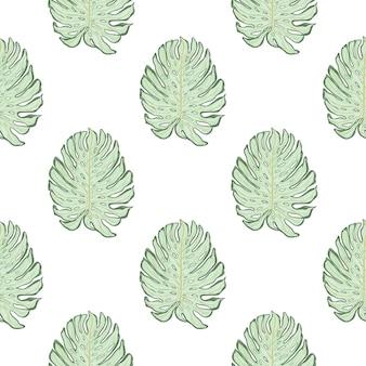 Reticolo senza giunte della natura con stampa di foglie di monstera doodle. sfondo bianco. stile semplice. fondale decorativo per il design del tessuto, stampa tessile, avvolgimento, copertina. illustrazione vettoriale.