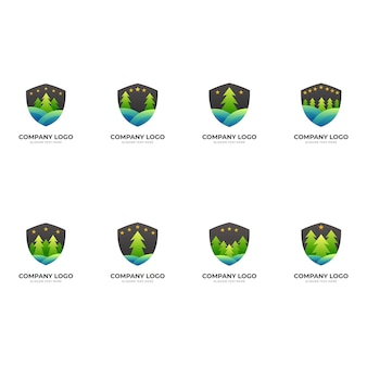 Scudo della natura, scudo e pino, logo combinato con stile colorato 3d