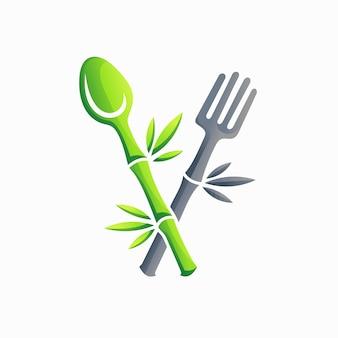 Logo del cucchiaio della natura con il logo della forchetta