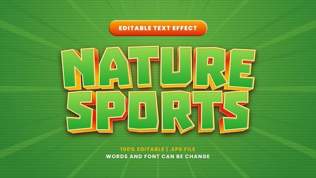 Effetto di testo modificabile per sport naturali in moderno stile 3d