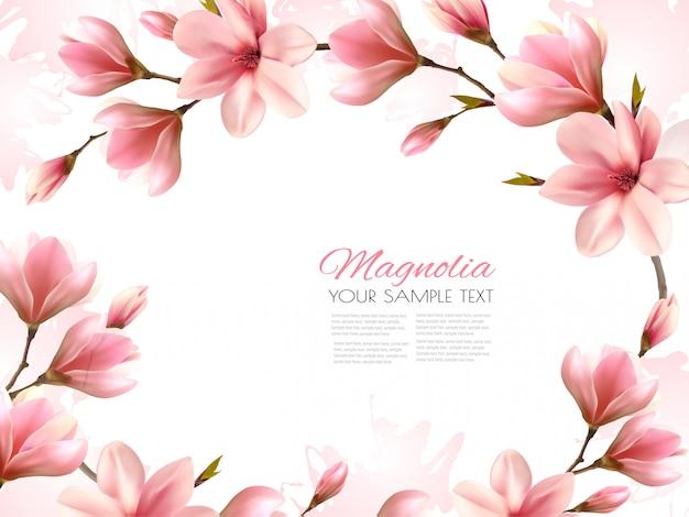 Sfondo primavera natura con bellissimi rami di magnolia.