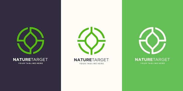 Modello di disegni di logo dell'obiettivo della natura. foglia illustrazione combinato con segno di destinazione.