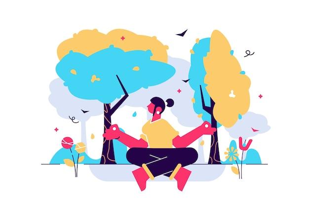 Concetto di persone minuscole piatte di terapia della natura. processo di ecoterapia ricreativa per acquisire forza, calma, armonia ed equilibrio nello stile di vita quotidiano. trattamento di salute fisica.