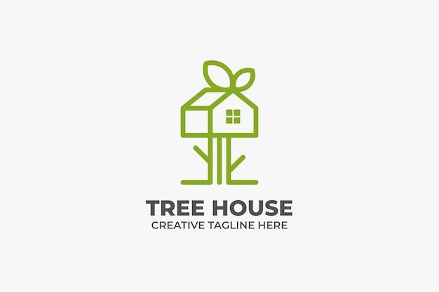Logo aziendale monolinea della casa sull'albero della natura