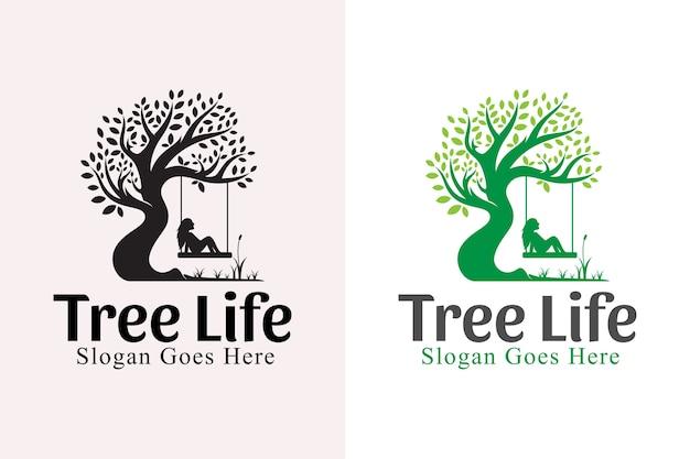 Natura albero della vita logo design ispirazione. cura degli alberi e design delle persone con la versione nera