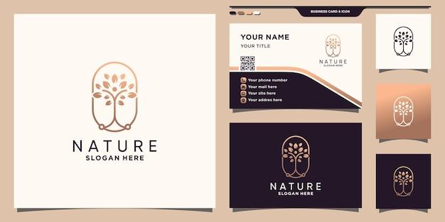 Logo dell'albero della natura con stile al tratto e design del biglietto da visita vettore premium