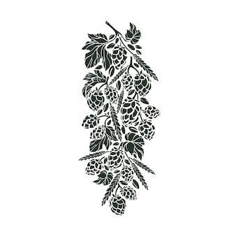 Natura ramoscello di luppolo chicco di grano mais trama inchiostro grafica illustrazione arte artigianato simbolo