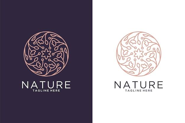 Design del logo in stile arte della linea del cerchio dell'annata della natura