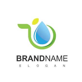 Modello di progettazione del logo dell'acqua naturale