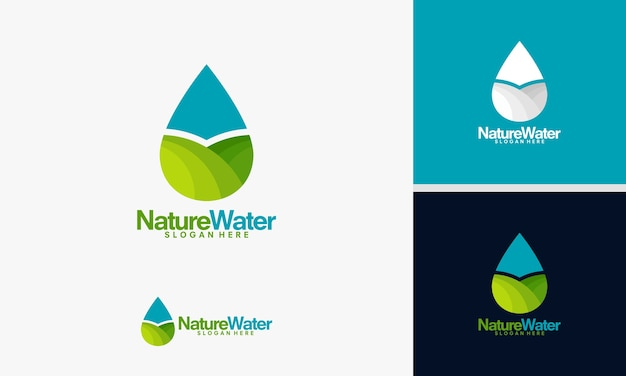 Modello di logo di natura acqua