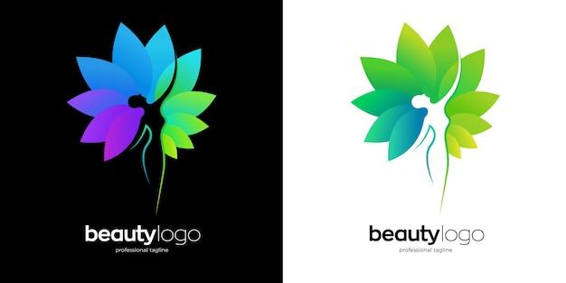 Logo della donna della natura in due opzioni di colore