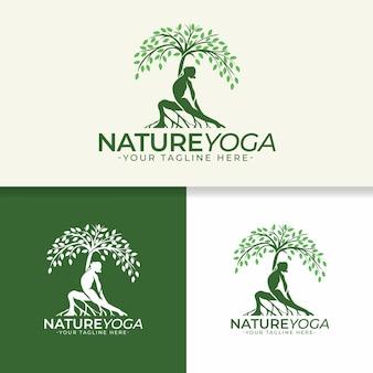 Modello di logo di natura yoga
