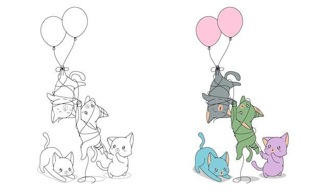 Pagina da colorare di gatti cattivi con palloncini per bambini