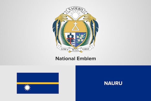 Modello di bandiera nazionale dell'emblema di nauru