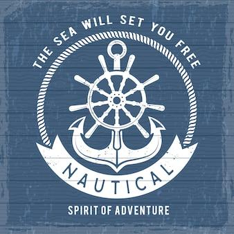 Poster di ancoraggio nautico. simboli della marina marina dell'oceano in barca o nave per cartello marinaio retrò. pirati del mare vintage Vettore Premium