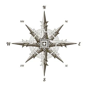 Segno antico nautico della bussola isolato su bianco