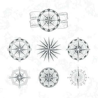 Bussola nautica. rosa dei venti marina per mappe. illustrazioni in stile vintage. set di bussola nautica per la navigazione cartografica