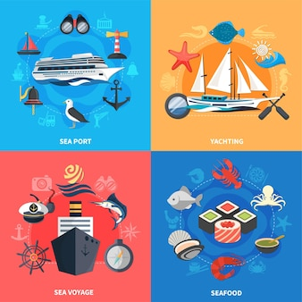 Icone di concetto nautico messe con l'illustrazione di vettore isolata piana di simboli del porto di mare e dei frutti di mare