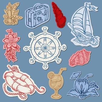 Doodles nautici sulla raccolta disegnata a mano di carta strappata