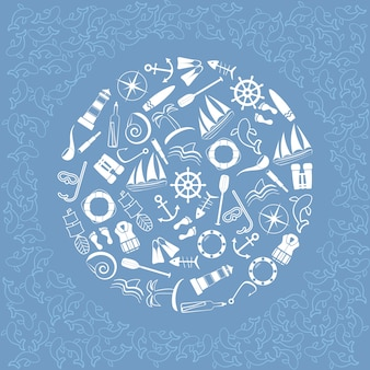 Elementi nautici in cerchio.