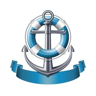 Emblema nautico con un'ancora, un salvagente e un nastro blu isolato su priorità bassa bianca. banner di viaggio estivo marino. illustrazione vettoriale