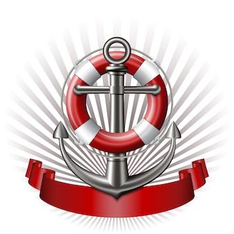 Emblema nautico con ancora, salvagente e nastro rosso. banner di viaggio estivo marino. illustrazione vettoriale