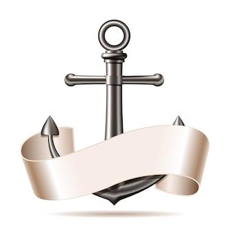 Emblema nautico con ancora in acciaio e nastro, viaggio estivo marino.