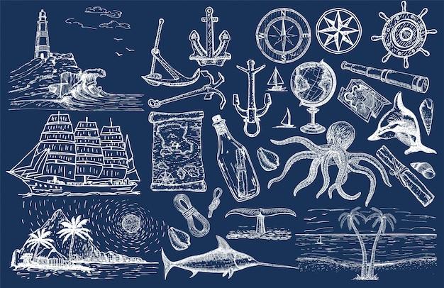 Insieme disegnato a mano nautico. schizzo a vela. oggetti marini vettoriali.