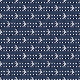 Motivo nautico, ancore sulle onde. sfondo estivo. illustrazione di stile elegante e di lusso