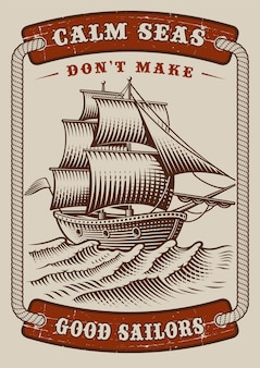 Manifesto nautico con nave d'epoca su sfondo bianco. il testo è in un gruppo separato.