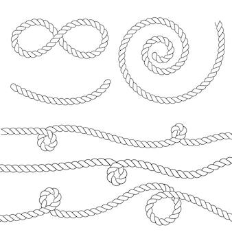Nodi di corda nautica. elementi decorativi vintage.